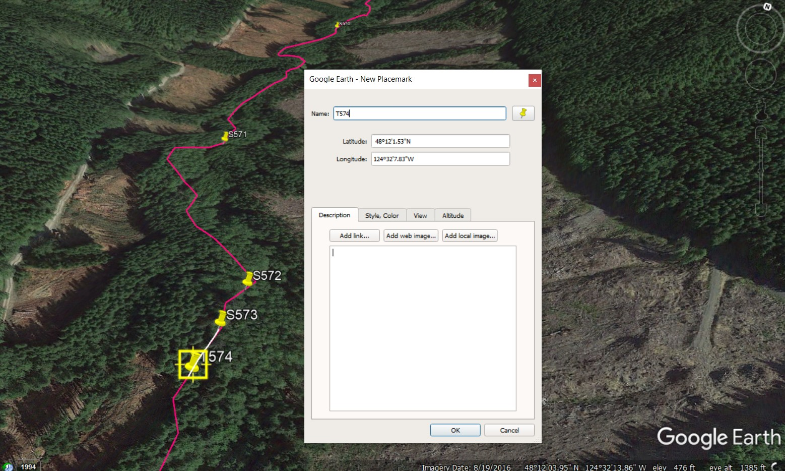 Each sample site is measured and then marked in Google Earth, giving each site a unique GPS location.