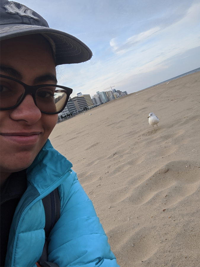 Jailene and a Gull in VA Beach